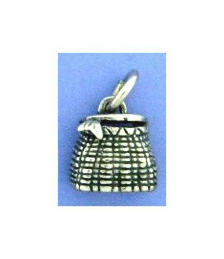 Fish Basket Sterling Charm 15x10mm