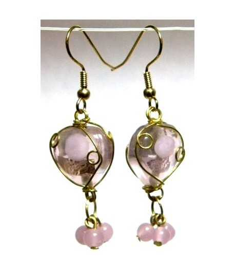 Pink Heart Gold Wire Wrapped Earrings - CE-76