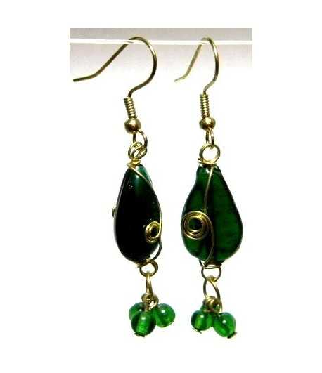 Green Gold Wire Wrapped Earrings - CE-75