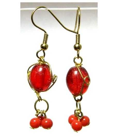 Red Gold Wire Wrapped Earrings - CE-74