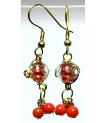 Red-Clear Gold Wire Wrapped...