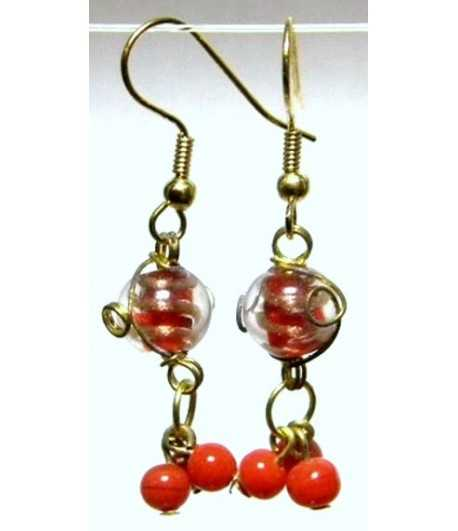 Red-Clear Gold Wire Wrapped Earrings - CE-72