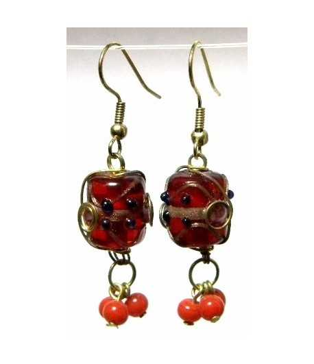 Red Gold Wire Wrapped Earrings - CE-71