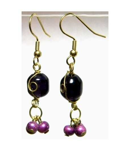 Dk Purple Gold Wire Wrapped Earrings - CE-70