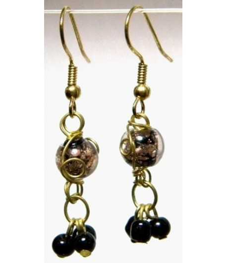 Black-Clear Gold Wire Wrapped Earrings - CE-69