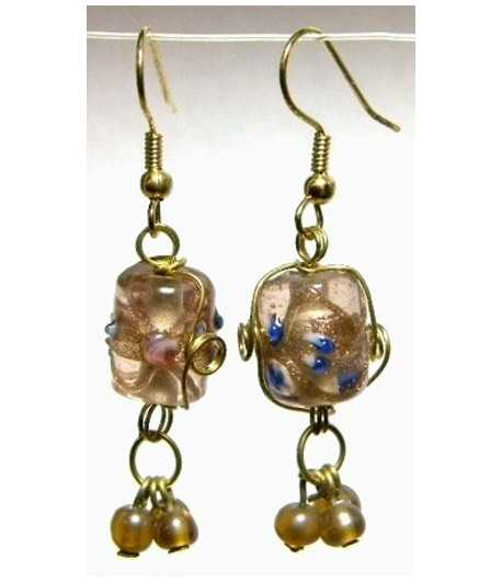Tan-Blue Gold Wire Wrapped Earrings - CE-67