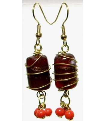 Burgundy Gold Wire Wrapped...