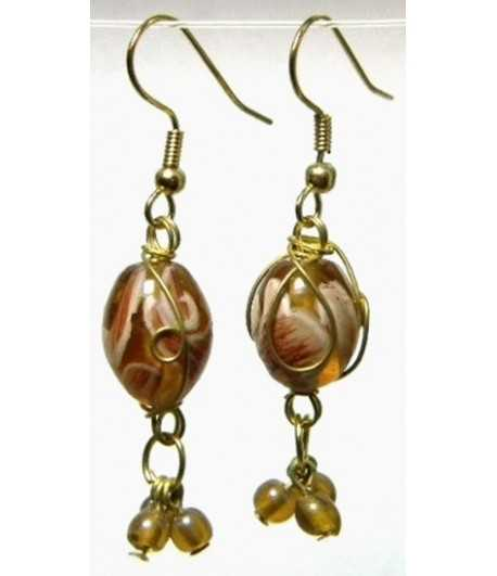 Topaz Gold Wire Wrapped Earrings - CE-62
