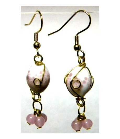 White-Pink Gold Wire Wrapped Earrings - CE-59