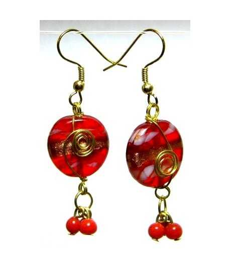 Red Gold Wire Wrapped Earrings - CE-56