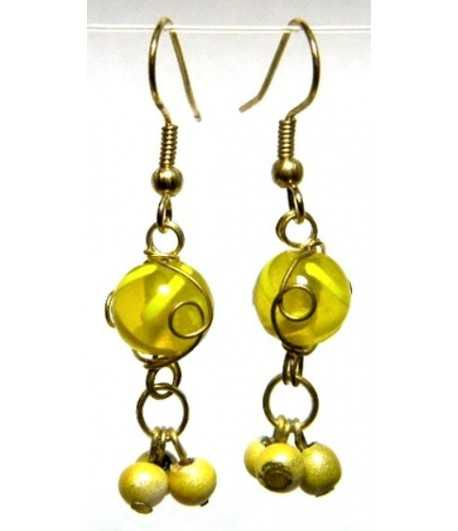 Yellow Gold Wire Wrapped Earrings - CE-55