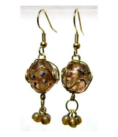 Tan-Blue Gold Wire Wrapped Earrings - CE-54