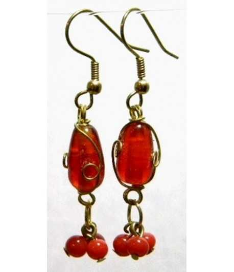 Red Gold Wire Wrapped Earrings - CE-53