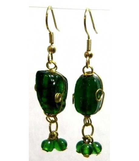 Green Gold Wire Wrapped Earrings - CE-52