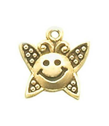 Smiley Face Butterfly Charm 16x16mm