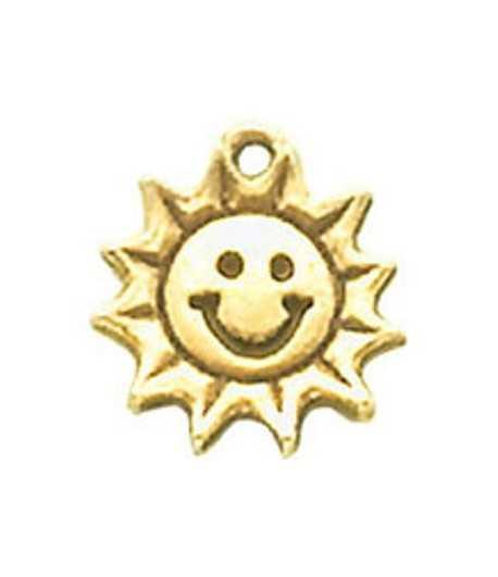 Smiley Sun Charm 16x15mm