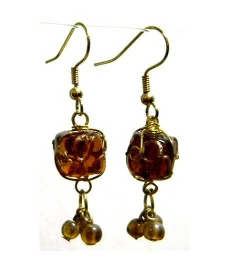 Black Gold Wire Wrapped Earrings - CE-45
