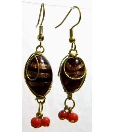 Burgundy Gold Wire Wrapped Earrings - CE-36