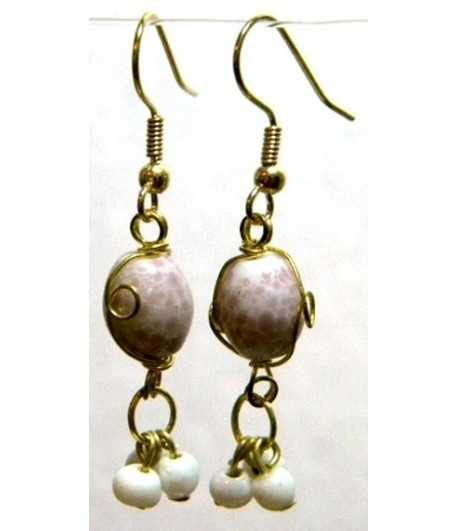 White-Pink Gold Wire Wrapped Earrings - CE-28