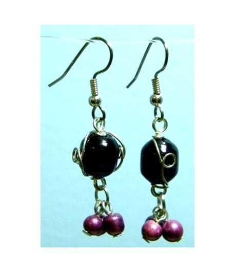Dk Purple Silver Wire Wrapped Earrings - CE-20