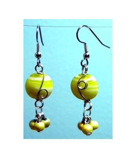 Yellow-White Silver Wire Wrapped Earrings - CE-19