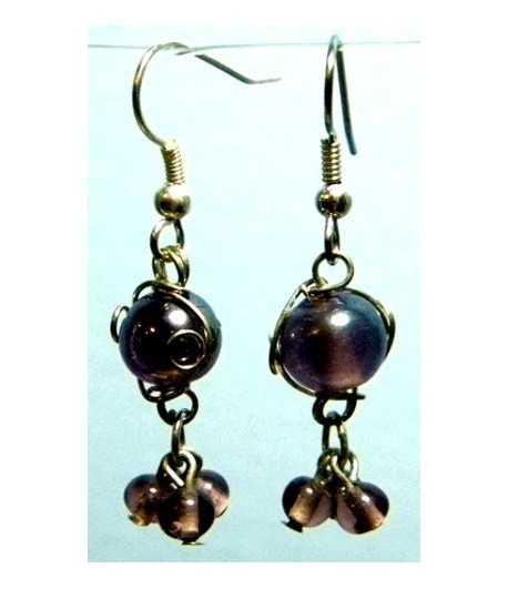 Purple Silver Wire Wrapped Earrings - CE-17