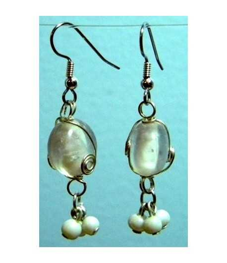 White-Clear Silver Wire Wrapped Earrings - CE-16