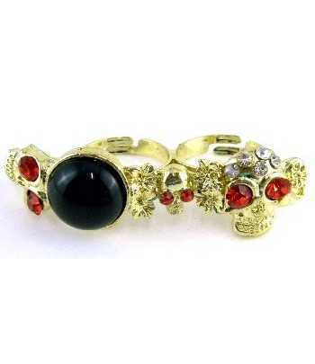 3 Gold Skull with Red...