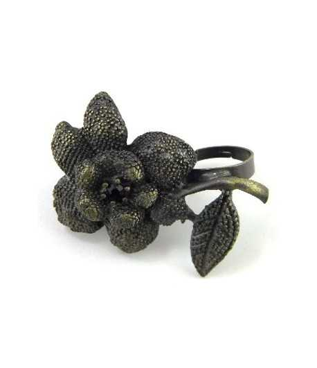 Antique Gold Flower Adjustable Double Ring - DR-33 (1.96 Inch x 1.65 Inch)