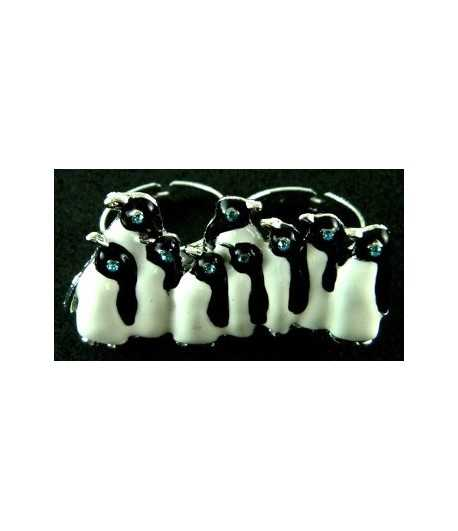 Silver/ Black & White Penguins with Blue Eyes Adjustable Double Ring - DR-32 (1.85 Inch x 1.1 Inch)
