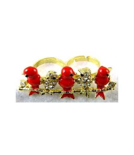 Gold Bird with Rhinestone & Red Birds Adjustable Double Ring - DR-30 (2.1 Inch x 0.85 Inch)