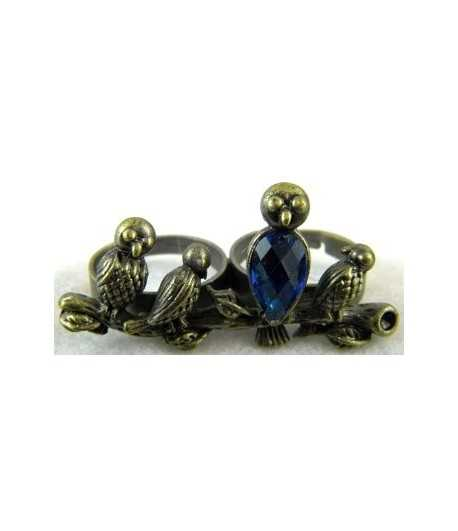 Vintage Birds with Blue Rhinestone Adjustable Double Ring - DR-24 (1.8 Inch x 0.9 Inch)