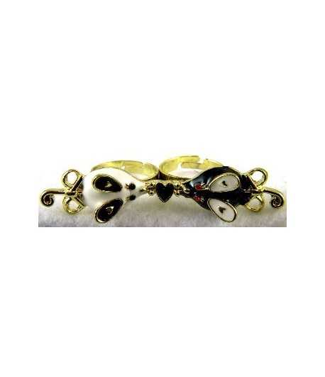 Gold Black & White Mouse with Black Heart Adjustable Double Ring - DR-21 (2.6 Inch x 0.55 Inch)