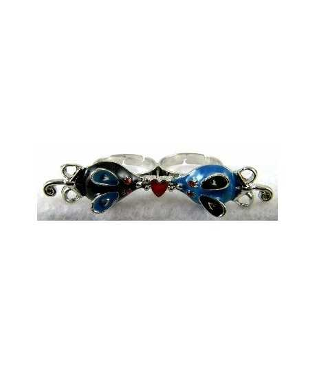 Silver Black & Blue Mouse with Red Heart Adjustable Double Ring - DR-19 (2.6 Inch x 0.55 Inch)