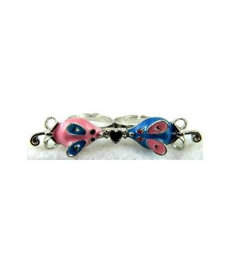 Silver Pink & Blue Mouse with Black Heart Adjustable Double Ring - DR-18 (2.6 Inch x 0.55 Inch)
