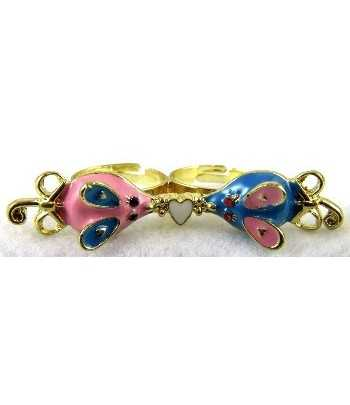 Gold Pink & Blue Mouse with...