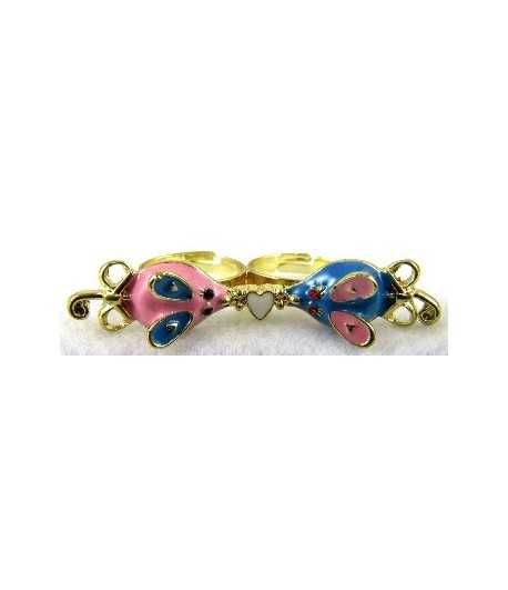Gold Pink & Blue Mouse with White Heart Adjustable Double Ring - DR-17 (2.6 Inch x 0.55 Inch)
