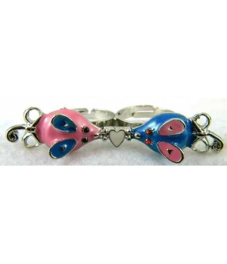 Silver Pink & Blue Mouse with White Heart Adjustable Double Ring - DR-16 (2.6 Inch x 0.55 Inch)