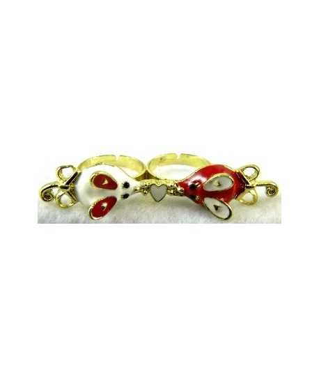 Gold Red & White Mouse with White Heart Adjustable Double Ring - DR-15 (2.6 Inch x 0.55 Inch)