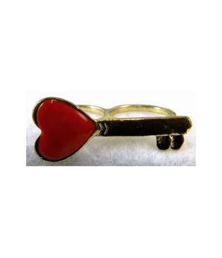 Gold & Red Heart Key Adjustable Double Ring - DR-11 (1.75 Inch x 0.75 Inch)