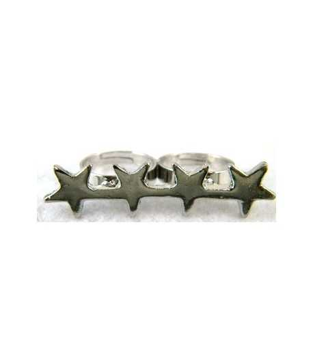 Silver Four Star Adjustable Double Ring - DR-10 (2.1 Inch x 0.5 Inch)