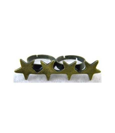 Gold Four Star Adjustable Double Ring - DR-9 (2.1 Inch x 0.5 Inch)