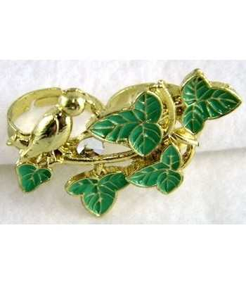 Gold Bird with Green Leaves...