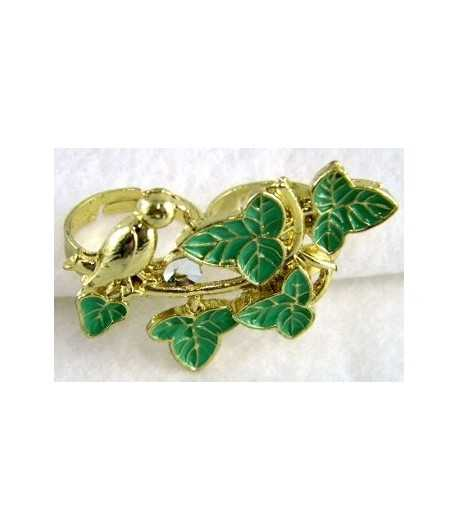 Gold Bird with Green Leaves & Rhinestones Adjustable Double Ring - DR-7 (1.75 Inch x 1.2 Inch)