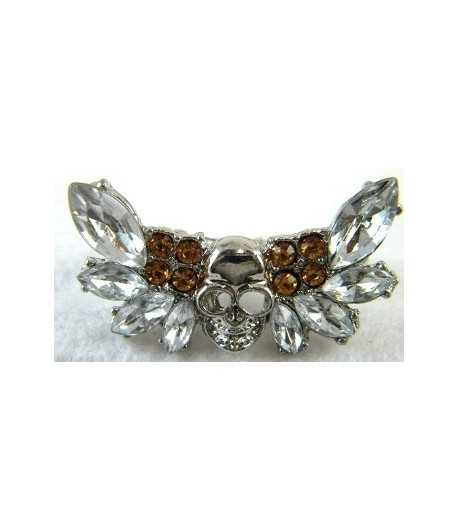 Silver Skull With Rhinestones Adjustable Double Ring - DR-4 (1.75 Inch x 0.8 Inch)