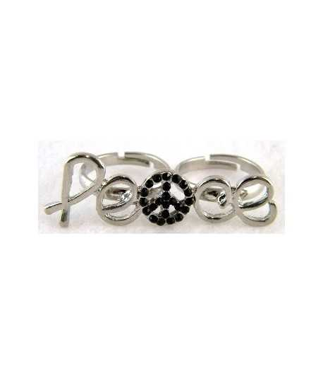 Silver Peace Sign Adjustable Double Ring - DR-1 (1.75 Inch x 0.6 Inch)