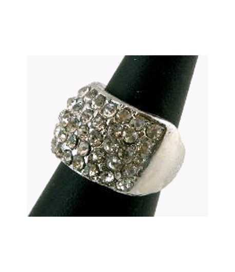 Silver Band with Crystals Ring - SNAR-10 (0.56 Inch) Size 6