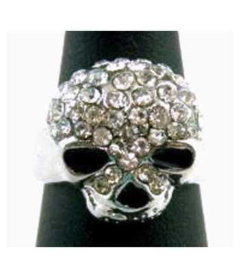 Skull with Crystals Ring -...