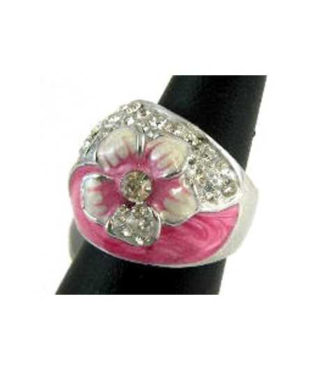 Pink Flower with Crystals Ring - SNAR-3 (0.8 Inch) Size 7