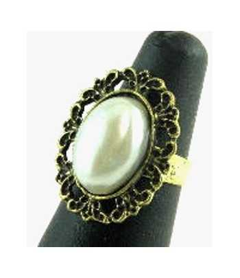 Gold with Large Oval Pearl...